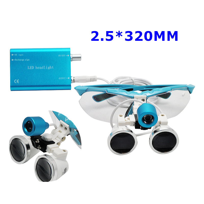 Blue Dentist Dental Loupes Surgical Medical Binocular Loupes 2.5X 320mm with LED Head Light Lamp spark 2 5x magnification dentist surgical medical binocular dental loupes with comfortable headband and mounted led head light