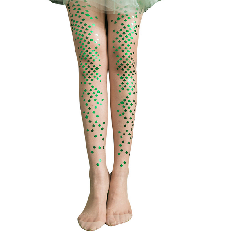 Sexy Womens Transparent Pantyhose Summer Printed Fish scales Pattern Tights Bikini Crotch Nylons Lady Stockings White Collants