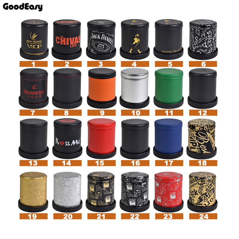 KTV Bar Gambling Casino Texas Poker Game Printing Leather+Plastic Dice Cup Set With Tray/Cover& 6pcs Digital White/Acrylic Dices
