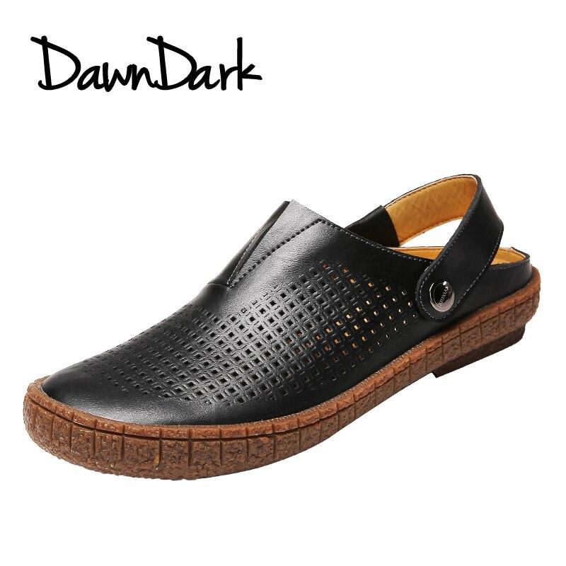 2018 новое качество кожи сезон: весна–лето мягкий мужской Босоножки для Для мужчин дышащие легкие пляжные Повседневное прогулочные сандалии