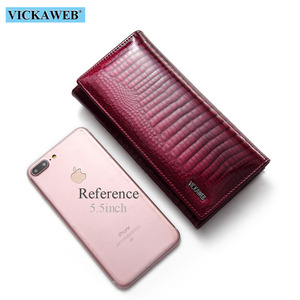 Image 4 - VICKAWEB Long Thick Wallet Female Fashion Alligator Purse Women Genuine Leather Standard Wallets Hasp womens wallets and purses