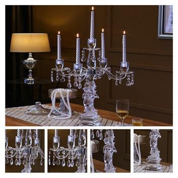 Kerzenhalter Aus Glas | Heißer Kristall Kerzenhalter 5-Arme Stehen Handmade Glass Hohe Qualität Säule Für Hochzeit Portavelas Leuchter
