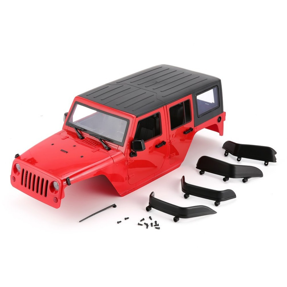 Hard Plastic Car Shell Body DIY Kit for 313mm Wheelbase 1/10 Wrangler Jeep Axial SCX10 RC Car Crawler Vehicle Model red diy 1 10 hard plastic yellow body shell parts climbing car modified car shell fit 1 10 rc model crawler car model
