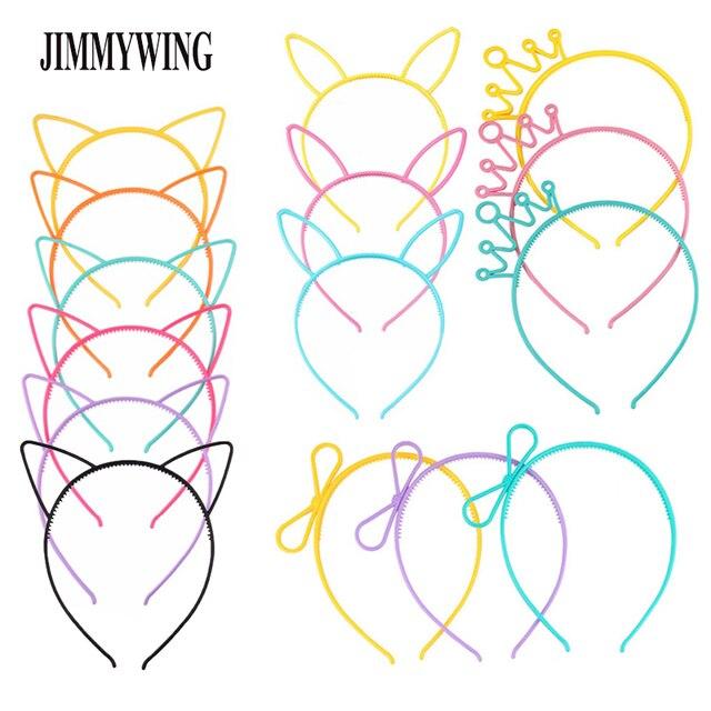 JIMMYWING Partido Supplie Gato Dos Desenhos Animados Orelha Coroa Hairband Headband Para Mulheres Borboleta Arco de Plástico Faixa de Cabelo Crianças Acessórios Para o Cabelo