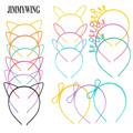 JIMMYWING Party Supplie Cartoon Cat Ear Crown Hairband Headband For Women Butterfly Bow Hair Band Plastic Kids Hair Accessories