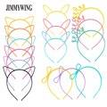 JIMMYWING partido Supplie de gato de dibujos animados oído corona diadema para mujeres mariposa arco banda de pelo de plástico Niños Accesorios para el pelo