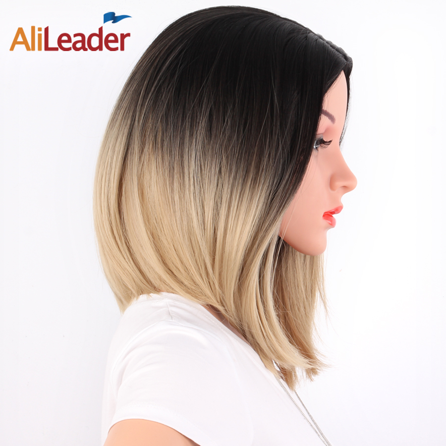 Alileader Ombre Short Straight Hair Wigs Women'S Bob Style Wig Cosplay Heat Resistant Synthetic Brown Blonde Blue Pink Black Wig