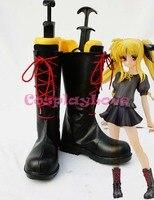 Magical Girl Lyrical Nanoha Fate Black Cosplay Shoes Boots Hand Made Custom Made For Halloween Christmas