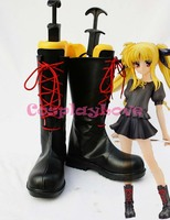 Magical Girl Lyrical Nanoha Fate Black Cosplay Shoes Boots Hand Made Custom Made For Halloween Christmas