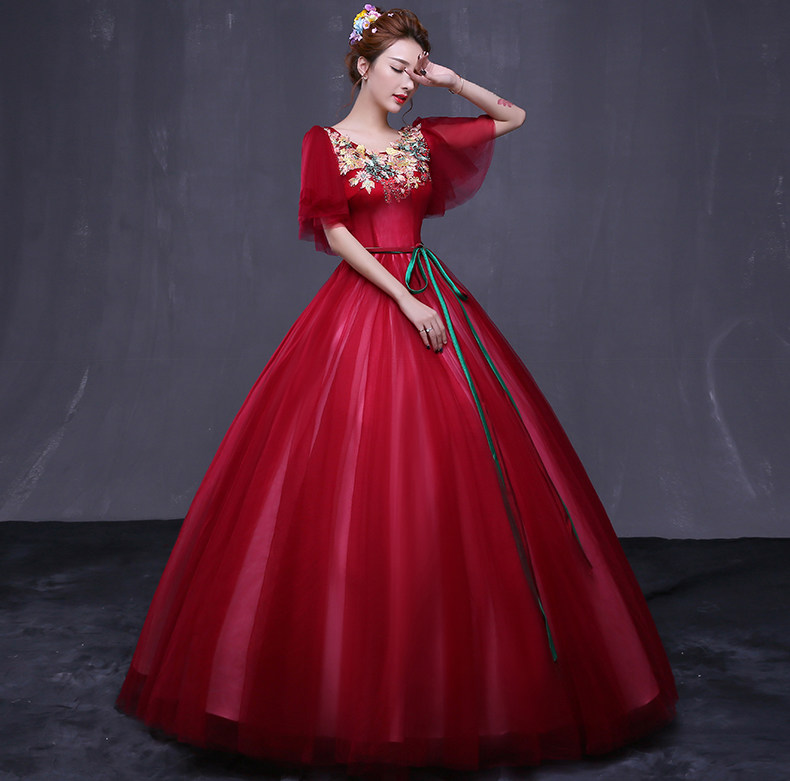 100%real wine red baroque 18th century medieval dress princess Renaissance Gown queen Victorian /Marie/ Belle Ball/ball gown