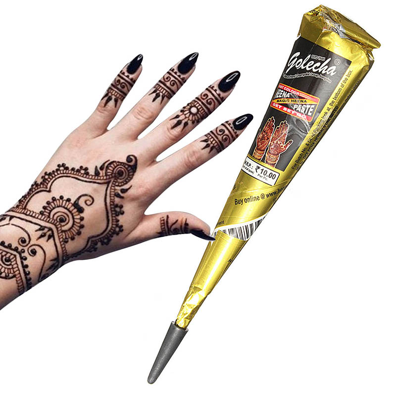 Temporary Tattoo Ink Like Henna: 1Pcs Black Natural Herbal Henna Cones Tube Natural Indian