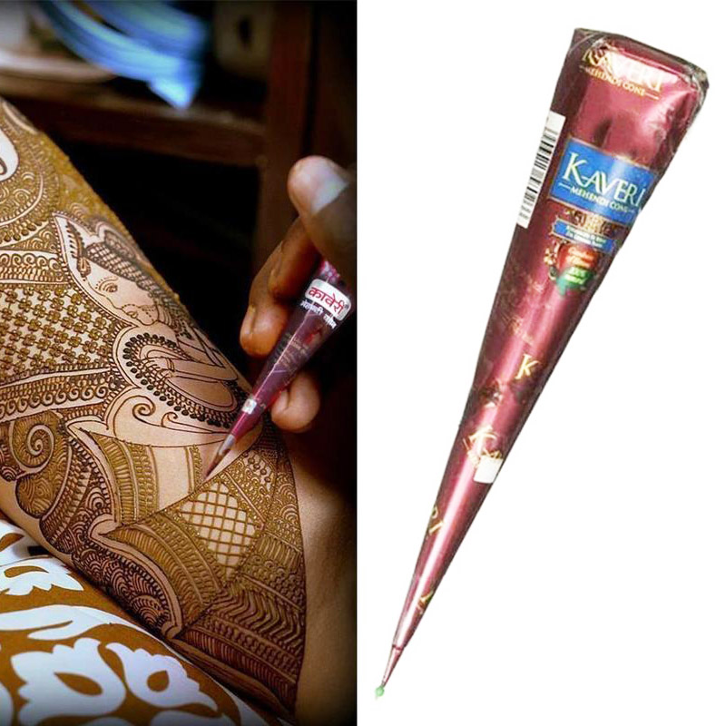 Черно-коричневые конусы хны индийская татуировка хной паста для Временной Татуировки наклейка для боди-арта натуральная краска для тела Та...