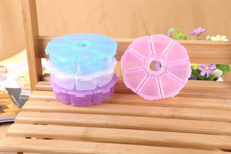 1 шт. 10*10*2.5 см Творческий Парк бисером 8 сетка ящик пластиковый ящик для хранения Рабочего Стола круглая коробка diy пластиковая коробка ювели…