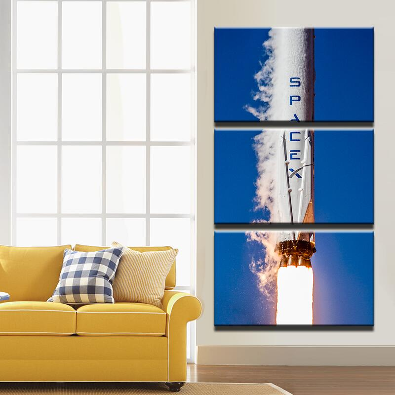 Picture Quadro Grande Tela 3 Pannello modulare Falcon 9 Rocket ...