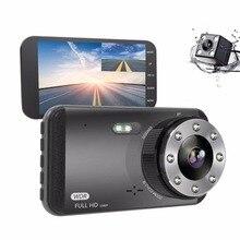 Ecartion 4 «Автомобильный dvr ADAS Dash Cam две камеры передний 1080 P + задний 720 P видео рекордер ночного видения авто камера парковка черный ящик