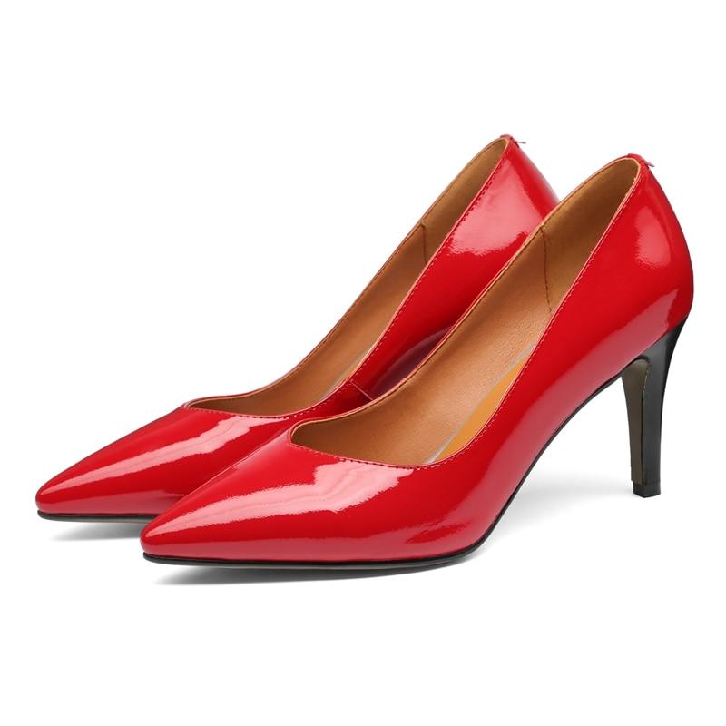 Talons 3440 Femmes Pompes Décontracté Enmayer Véritable black Cuir Pointu Hauts En Apricot Calzado À Slip Mujer Chaussures Zyl2607 sur Taille red Bout Y76fybgv