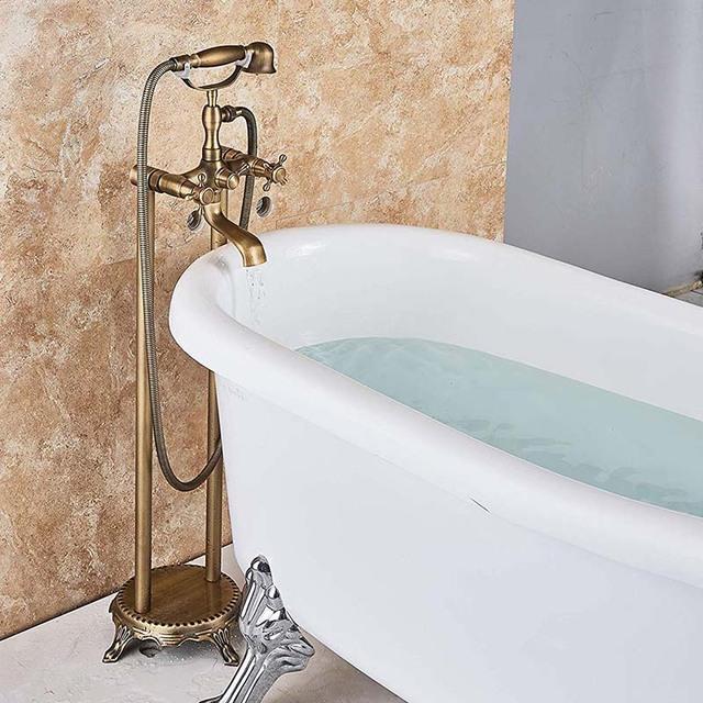 Antique Brass Floor Mounted Tub Sink Faucet Dual Handle Bathroom Bath Shower Set Freestanding Bathtub Mixer Tap with Handshower