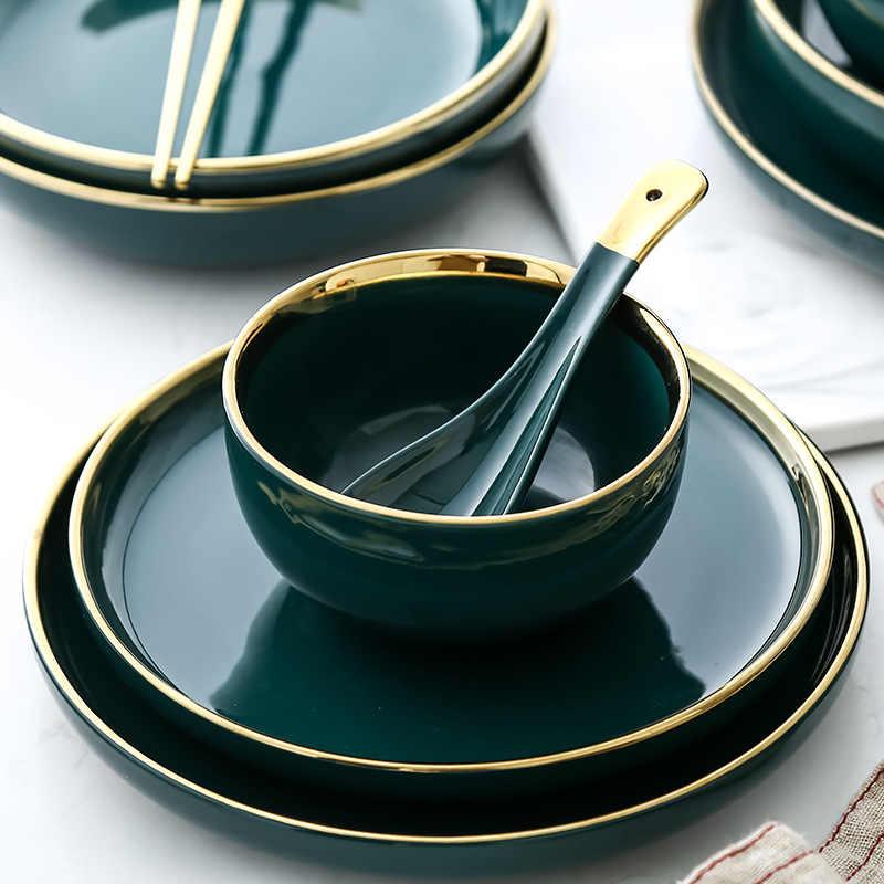 Jogo de louça prato com bordas de cerâmica, placas e tigelas de luxo para jantar, com aro brilhante, salada ramen, tigela, pratos profundos, louça verde