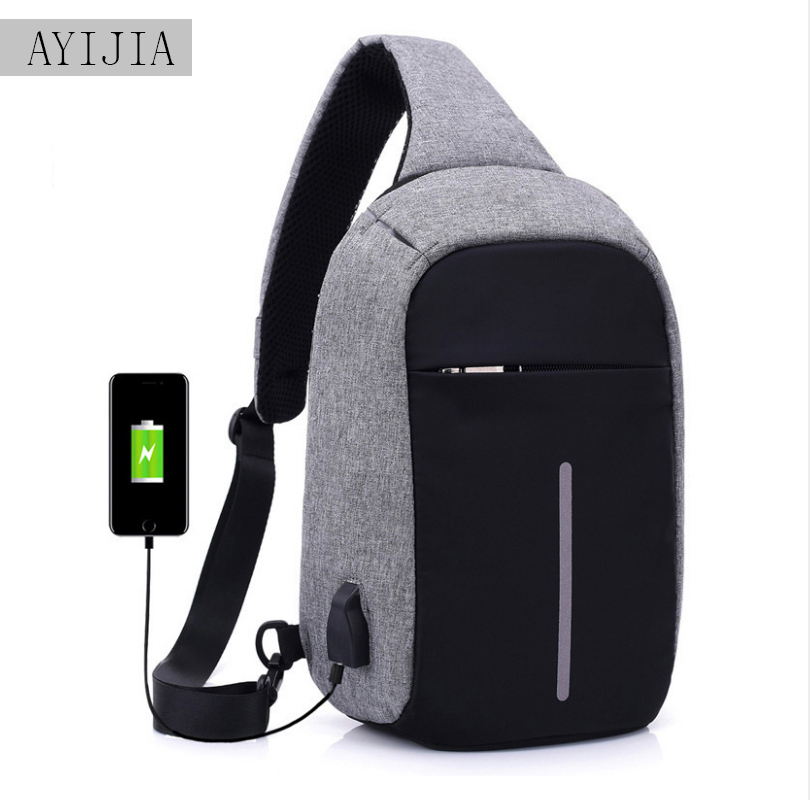 USB Charging Shoulder Crossbody Bag Men's Burglar Men Female Stealth Zipper Business Chest Pack Repellent bag Anti-theft Package
