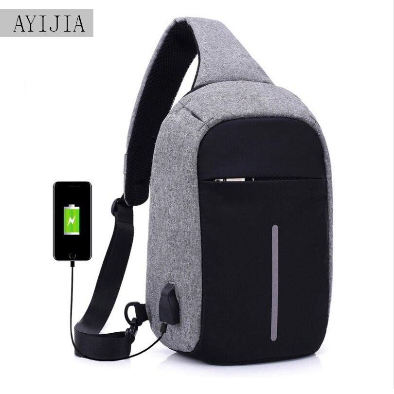 USB Lade Schulter Umhängetasche männer Einbrecher Männer Weibliche Stealth Zipper Business Brust Pack Abweisend tasche Anti-diebstahl paket