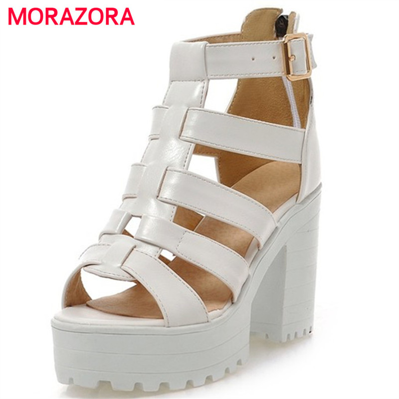 MORAZORA 2017 new fashion gladiator women sandals thick high heels summer shoes platform black and white ladies shoes