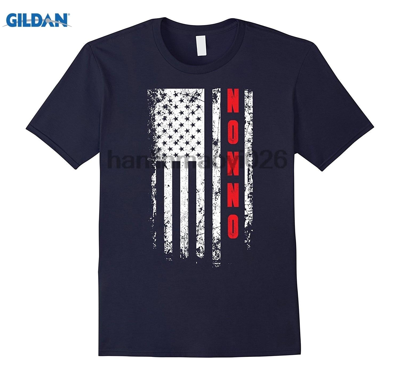 GILDAN Fathers Day Gift American Nonno flag t-shirt