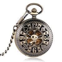 Bronze Pocket Watch Mechanical Automatic Fob Watch Hollow Skull Poker Carving Design Clock Relogio De Bolso