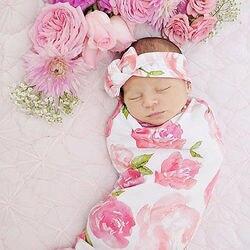 2 قطعة الحلو حلم الزهور القطن الوليد طفل طفلة قماط بطانية النوم قماط بطانية لحمل الرضع من نسيج قطني عقال