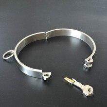 лучшая цена Solid 304 Stainless Steel Lockable Neck Collar Bdsm Bondage Restraints Choking Ring Slave Fetish SM Games Sex Toys For Women Man