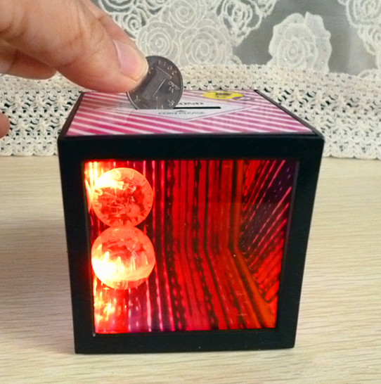 Led Magic Coin Box Bank Piggy Party Prom Supplies Kids Clic Flashing Light Up Toy
