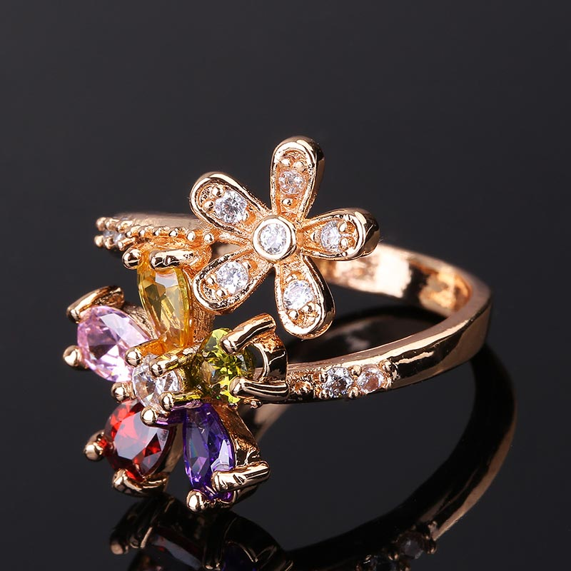 CWEEL Weeding Engagement Rings For Women Austrian Imitation Crystal Zircon Ring Rose Gold Color India Dubai Big Water Drop Rings (4)