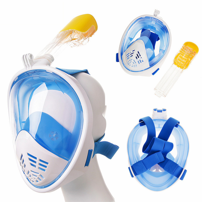 Nuevo bajo el agua buceo 180 Grado Gran máscaras respiratorias seguro y resistente al agua de buceo Anti niebla de la cara llena máscara de buceo