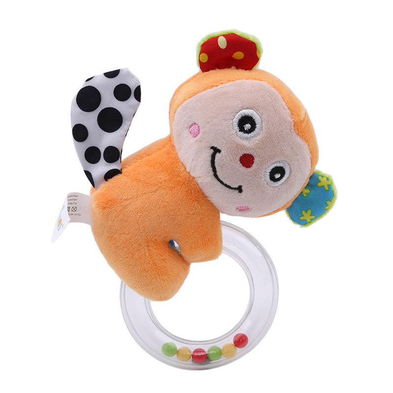 Baby Round Rattle Toys Lovely Animal Hand Bells Plush Toy Baby Kid Bed Stroller Rattle Toys