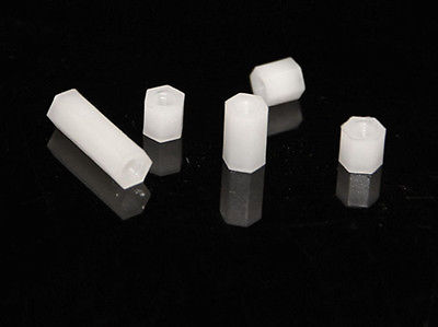 50pcs <font><b>M3X40mm</b></font> Nylon Hexagonal Pillar Nut Tapped Spacer image