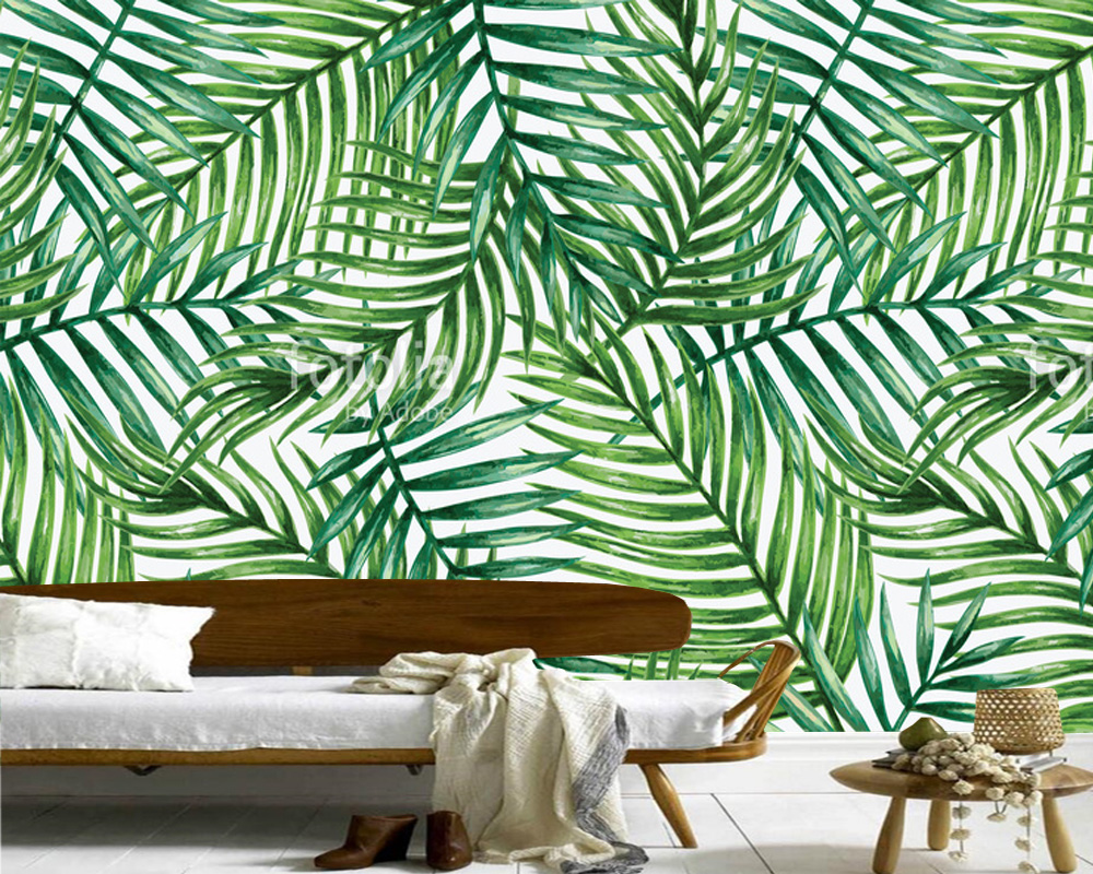 Custom wall leaf wallpaper watercolor tropical palm leaves for Papel de pared lavable