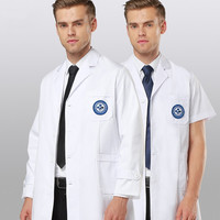 Semi Permanent Korean White Coat Long Short Sleeved Hospital Beauty Salon Slim Doctor Work Clothes Men