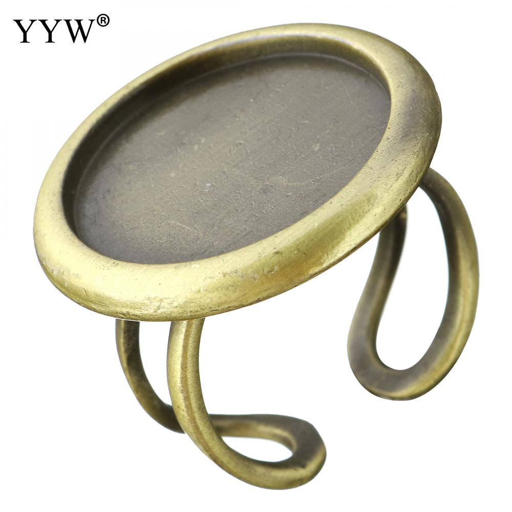 YYW Wholesale Antique Bronze Plated Brass Ring Findings 26mm Fit 20mm Cabochon Setting Ring Size:8 Open Cuff Full Rings Findings