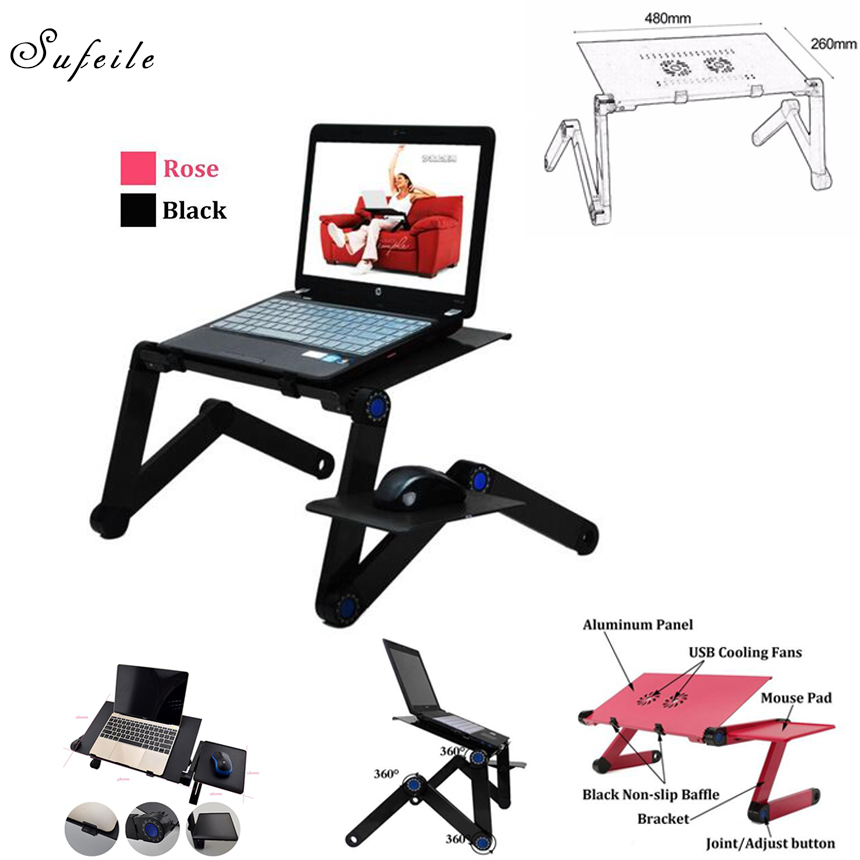Larger Portable Laptop Folding laptop Table Double Fan Desk 480mm Bed Sofa Tray 360 rolling Adjustable Computer table Desk BA50 aluminum alloy adjustable laptop desk lapdesks computer table stand notebook with cooling fan mouse board for bed sofa tray