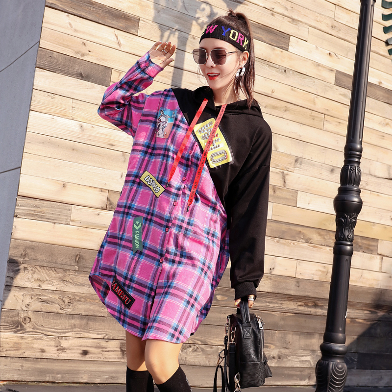 Étrange fille 2018 automne nouveau style mince mince couleur correspondant âge réduction grille contrôle lâche robe à capuche