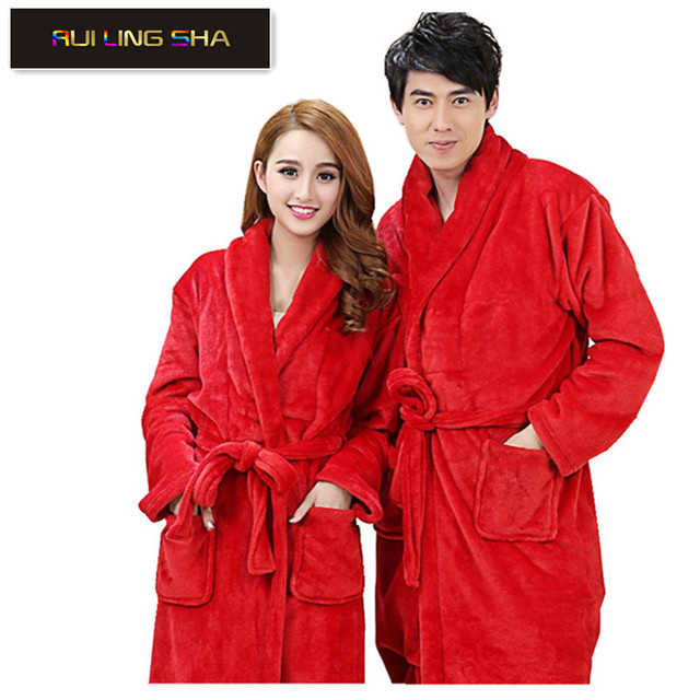 032e4c588c Men Women Luxury Flannel Coral Fleece Spa Bathrobe Long Kimono Bath Robe  Female Thick Sleepwear Peignoir Soft Long Sleeve Gowns