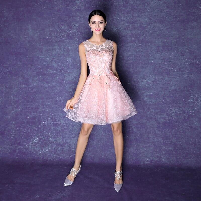 Rosa de encaje de novia vestido de cóctel de banquetes corto dulce ...