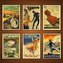 Póster de viaje de Deportes de esquí Vintage chamonix mont blanc patinaje pinturas clásicas en lienzo pósteres de pared pegatinas decoración del hogar regalo