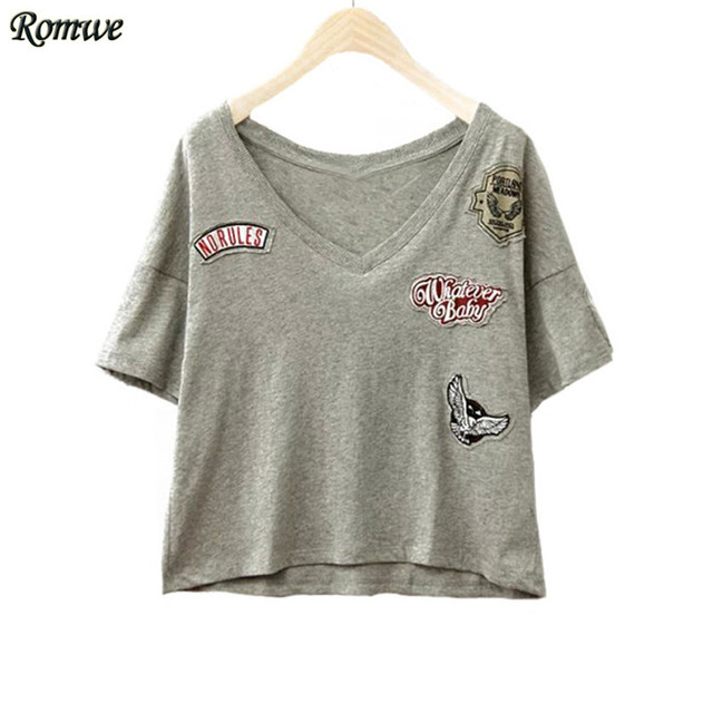 d00a83d77c8 ROMWE New Arrival Summer Style Women s Tops Casual Simple Short Sleeve V  Neck Dip Hem With. Mouse over to ...