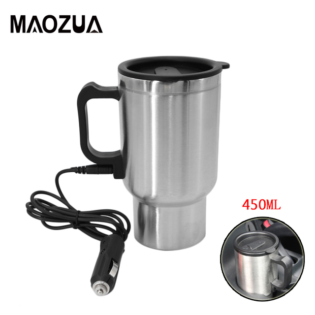 20670c3f2d9 US $5.33 45% OFF|450ml Auto Car Heating Cup Stainless Steel Electric  Thermos Water Heated Mug For Car 12V Kettle Travel Mug In the Car -in  Vehicle ...