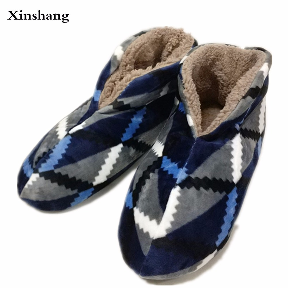 High Quality New Winter Warm Cotton-padded Shoes Skid Soft Bottom Indoor Home Shoes Warm Plush Indoor Boots For Men Floors Shoes