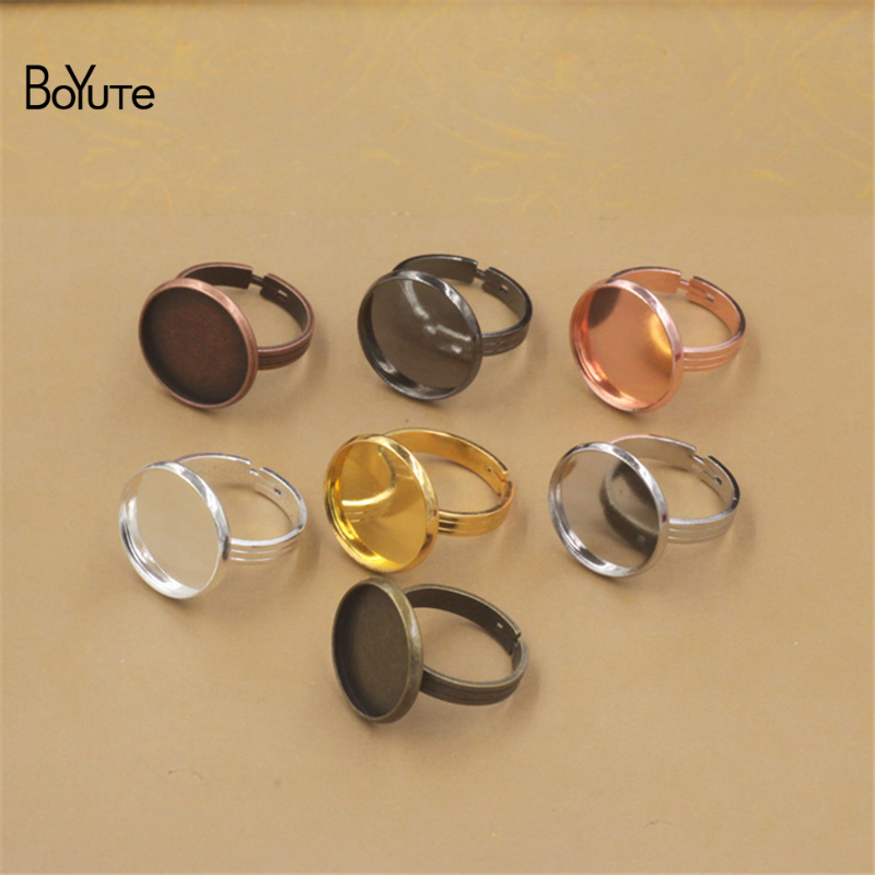 BoYuTe 20Pcs 7 Colors Round 10MM 12MM 14MM 16MM 18MM 20MM Cabochon Base Ring Adjustable Diy Jewelry Findings Components