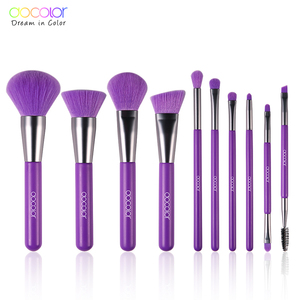 Image 2 - Docolor 10Pcs Purple Makeup Brushes Synthetic Hair Professional Powder Foundation blush eye Blending Contour Make up Brushes set