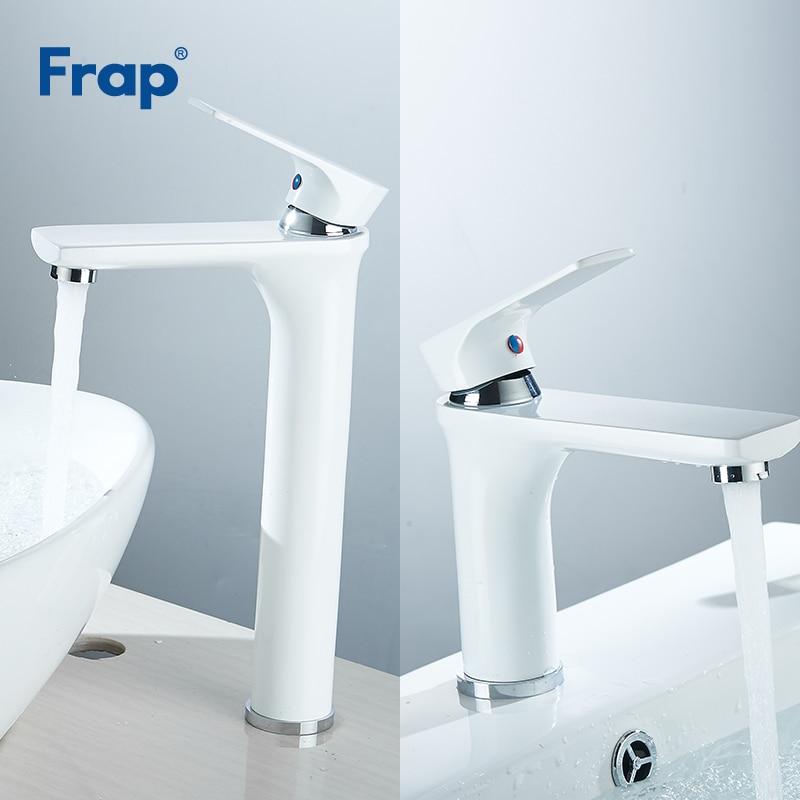 Frap Single Handle Bathroom Basin Faucets Mixer Water Basin Sink Tap White Water Kitchen Faucet Bath