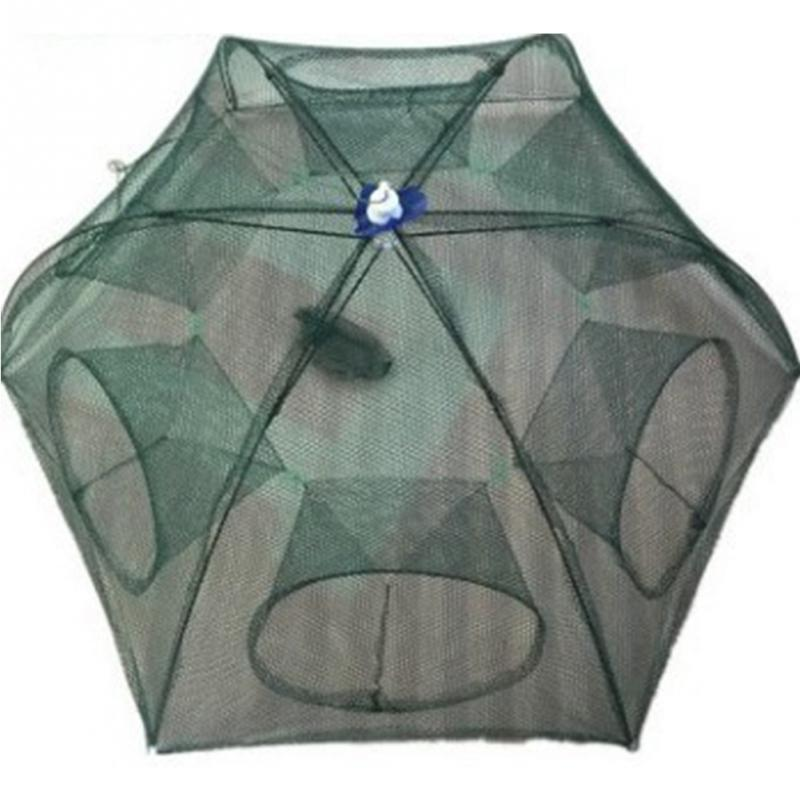 Folded Portable Hexagon 4/6/8 Hole Automatic Fishing Net Fish Shrimp Trap Minnow Crab Baits Cast Mesh Trap portable foldable fishing trap cast net 8 import 70x30cm crab eel lobster