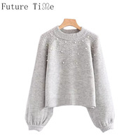 Future Time Women Pearl Jumper Beaded Rib Knit Pullover Female Warm Sweaters Lady Stand Collar Long Sleeve Winter Sweater MY241
